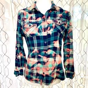 Mossimo Bleach Dyed Flannel Shirt Size Large